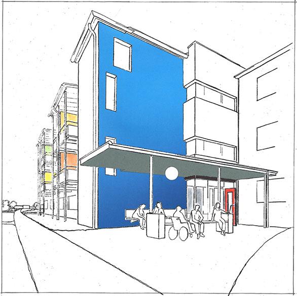 Zeichnung eines Gebäudes mit stehenden Menschen und Menschen im Rollstuhl
